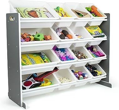 Humble Crew Kids Toy Organizer with 16 Storage Bins, Grey/White
