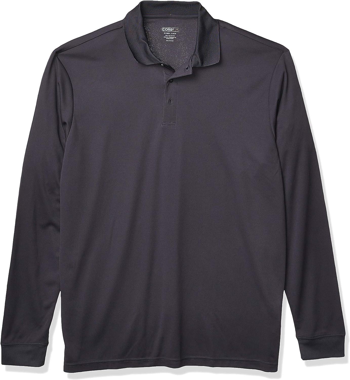 Ashe City Men's Pinnacle Performance Long Sleeve Pique Tall Polos Shirt