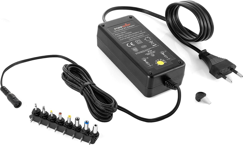 Poppstar Alimentador Universal (5 V, 6 V, 7,5 V, 9 V, 12 V - 3 A) (13,5 V y 15 V - 2,4 A) con 8 Conectores y LED, Cable eléctrico 2,5m