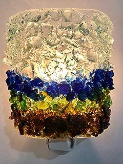 Horizon Fused Recycled Bottle Glass Handmade Art Night Light Nightlight Unique Home Accent Decor