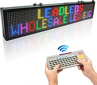 Leadleds 30x6-in LED Message Board Scrolling Multicolored Text BMP Icon Hours for Business Home Office Sandwich Restaurant Beer Open - Fast Program by Remote