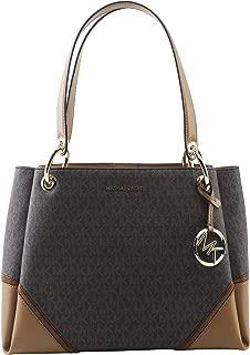 Michael Kors Nicole Large Shoulder Tote bag MK Signature In Brown Acorn