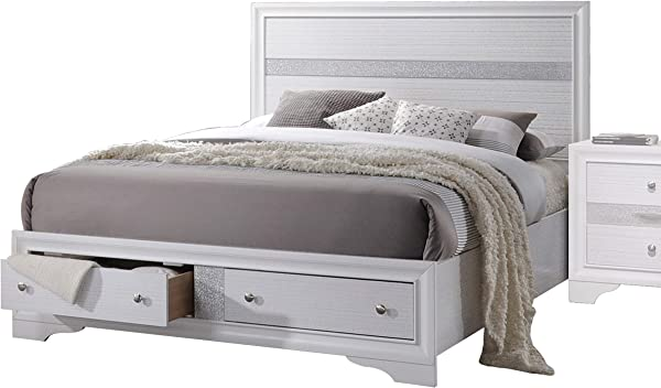 Acme 家具 Naima 25767EK 东方特大床与存储白色