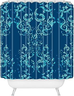 """Society6 Squirrel Swirl Indigo Pattern State Shower Curtain, 72"""" x 69"""", Blue"""