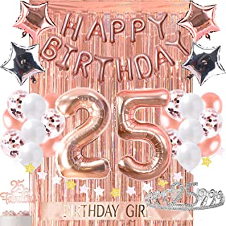 25th Birthday Decorations with Photo Props 25 Birthday Party Supplies Fabulous 25 Cake Topper Rose Gold Banner Rose Gold Confetti Balloons for her Crown Twenty Fifth Bday Curtain Photo Booth Backdrop