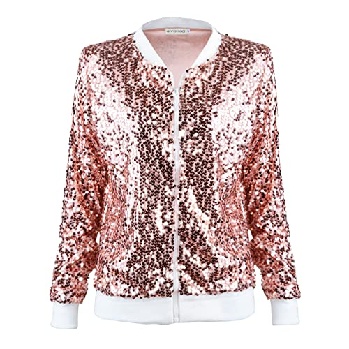e38455335489f Anna-Kaci Womens Sequin Long Sleeve Front Zip Jacket with Ribbed Cuffs