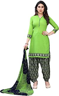 TreegoArt Fashion Women's Printed Daily Wear French Crepe Dress Material -(Free Size) Parrot Green