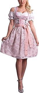 Golden Trachten Kleid Dirndl Damen 3 TLG, Midi für Oktoberfest, mit Schürze und Bluse, 534GT