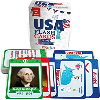 merka Educational Flashcards - USA Set - 95 Cards for Kids - US States with Beautiful Images for Each State Bird, Flower, Flag, Tree - US Presidents - Educational Civics Flashcards for Kids