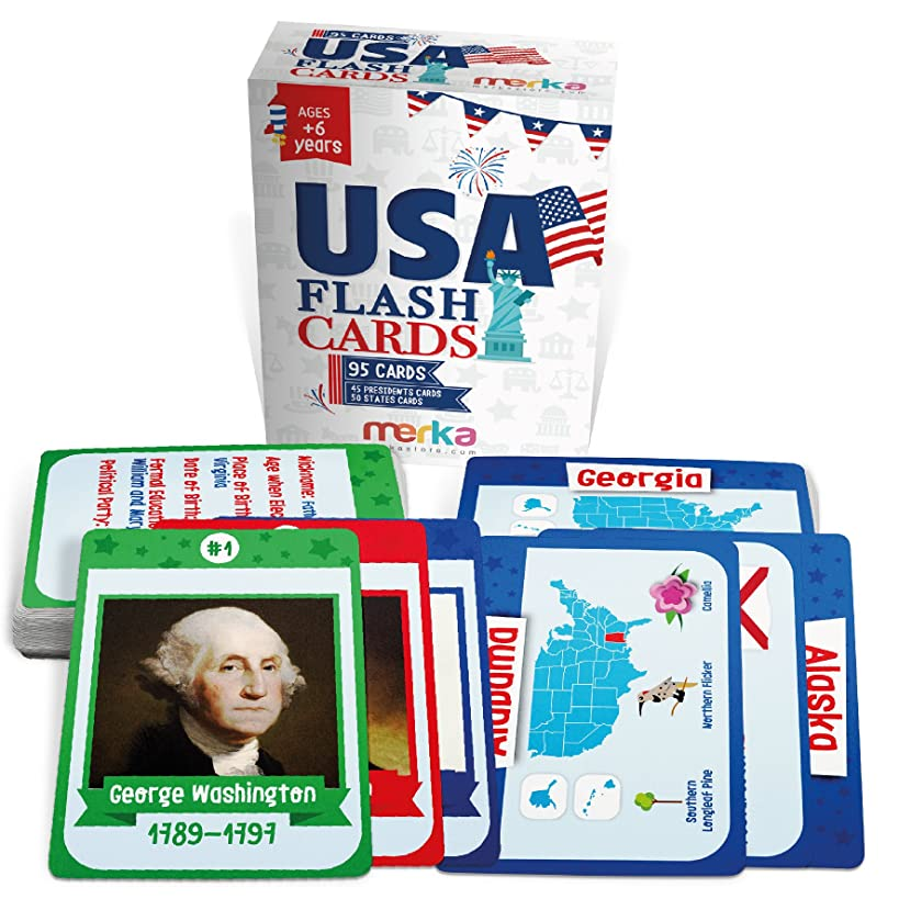 95 Kids USA Presidents and States Flash Cards with Beautiful Images for Each State Bird, Flower, Flag, Tree and More - Educational Civics for Kids