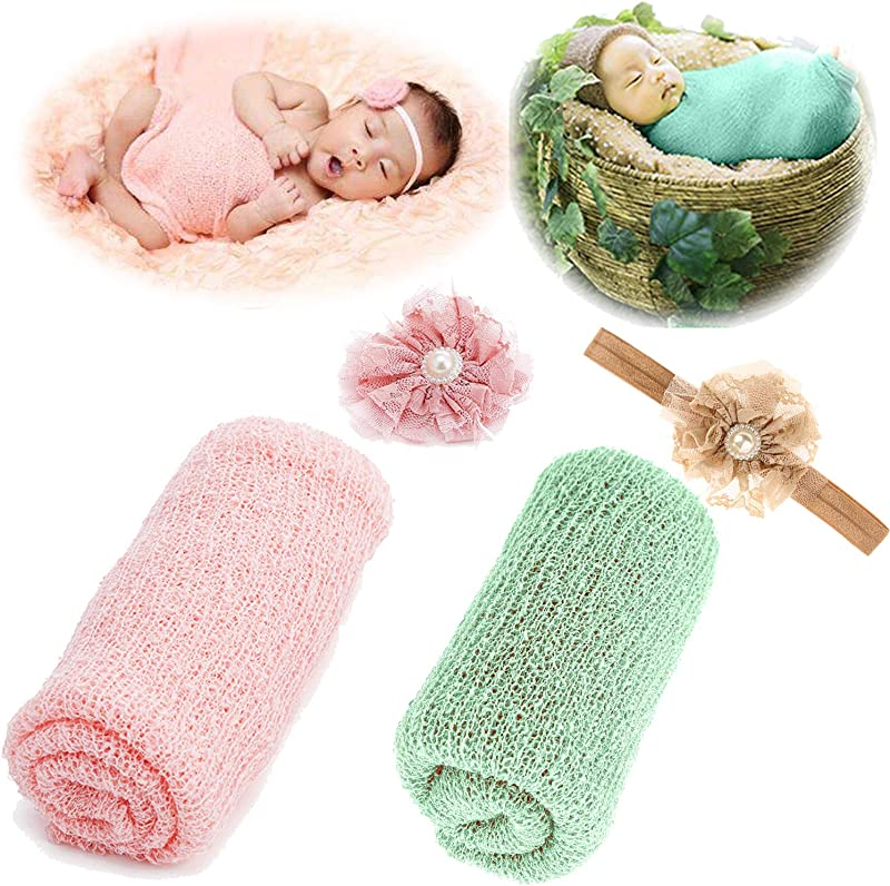 Newborn Baby Photography Props Long Ripple Wrap Blanket And Lace Beads Headband