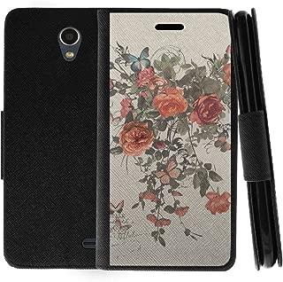 TurtleArmor | Compatible with ZTE Prestige 2 Case | ZTE Maven 3 Case | ZTE Overture 3 Case | Flip Kickstand Wallet Case Leather Cover with Card Slots Holder Girls - Elegant Roses