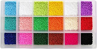BALABEAD Size Almost Uniform Seed Beads 18000pcs in Box Opaque Color Seed Beads 18 Colors Assortment 12/0 Glass Craft Beads 2mm Seed Beads for Jewelry Making, Hole 0.6mm (1000pcs/Color, 18 Colors)