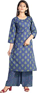 A-TEX INDIA Women's Rayon Printed Straight Blue Kurti With Palazzo