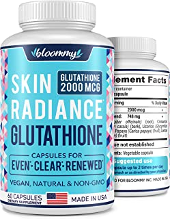 Glutathione Supplement 3000 MG - Made in USA - Natural Skin Brightening Treatment - Vegan Glutathione Capsules for Even Sk...