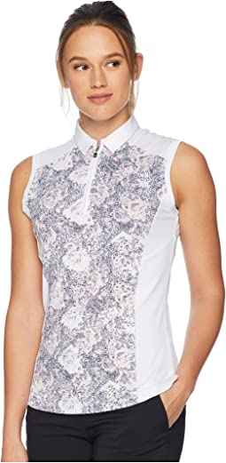 Sleeveless Dotted Blossom Print Polo