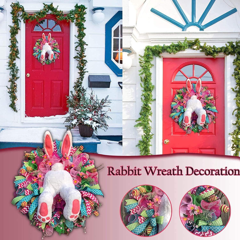 B QIRU Easter Thief Bunny Butt Wall Decor,Easter Rabbit Wreath for Front Door,Easter Hanging Welcome Sign Wreath,Easter Thief Bunny Butt with Ears Cartoon