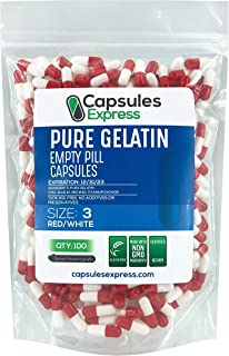 Capsules Express- Size 3 Red and White Empty Gelatin Capsules- Kosher Pure Gelatin Pill Capsule - DIY Powder Filling (100)
