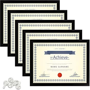 upsimples 8.5x11 Picture Frame Certificate Document Frame with High Definition Glass ,5 Pack Photo Frames for Wall and Table,Black