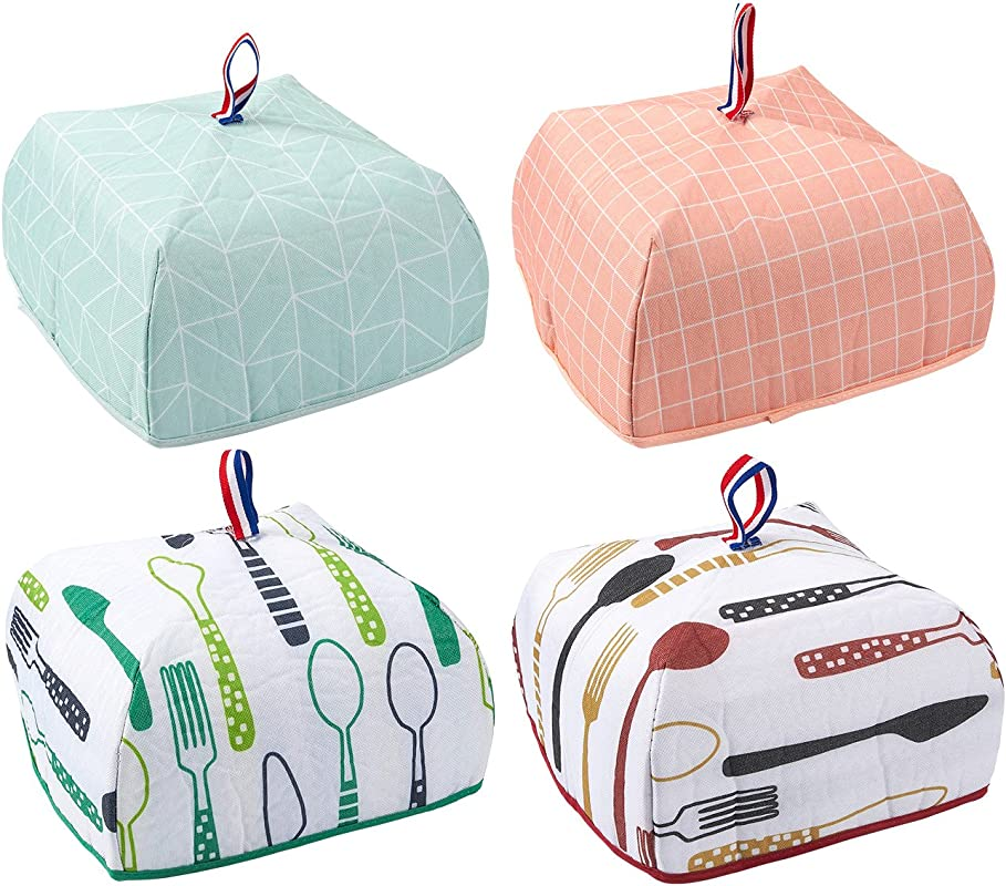 4 Pack Food Cover Portable Thermal Pop Up Food Cover Small Collapsible Food Tent 4 Designs 9 5 X 5 5 X 9 5 Inches