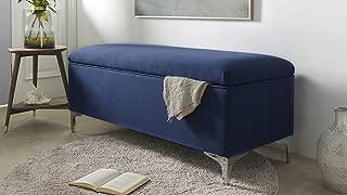 Sandy Wilson Home Madelyn Storage Bench, Dark Sapphire Blue