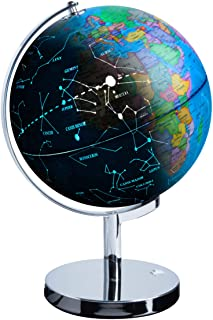 USA Toyz LED Illuminated Globe of The World with Sturdy Chrome Stand – 3 in 1..