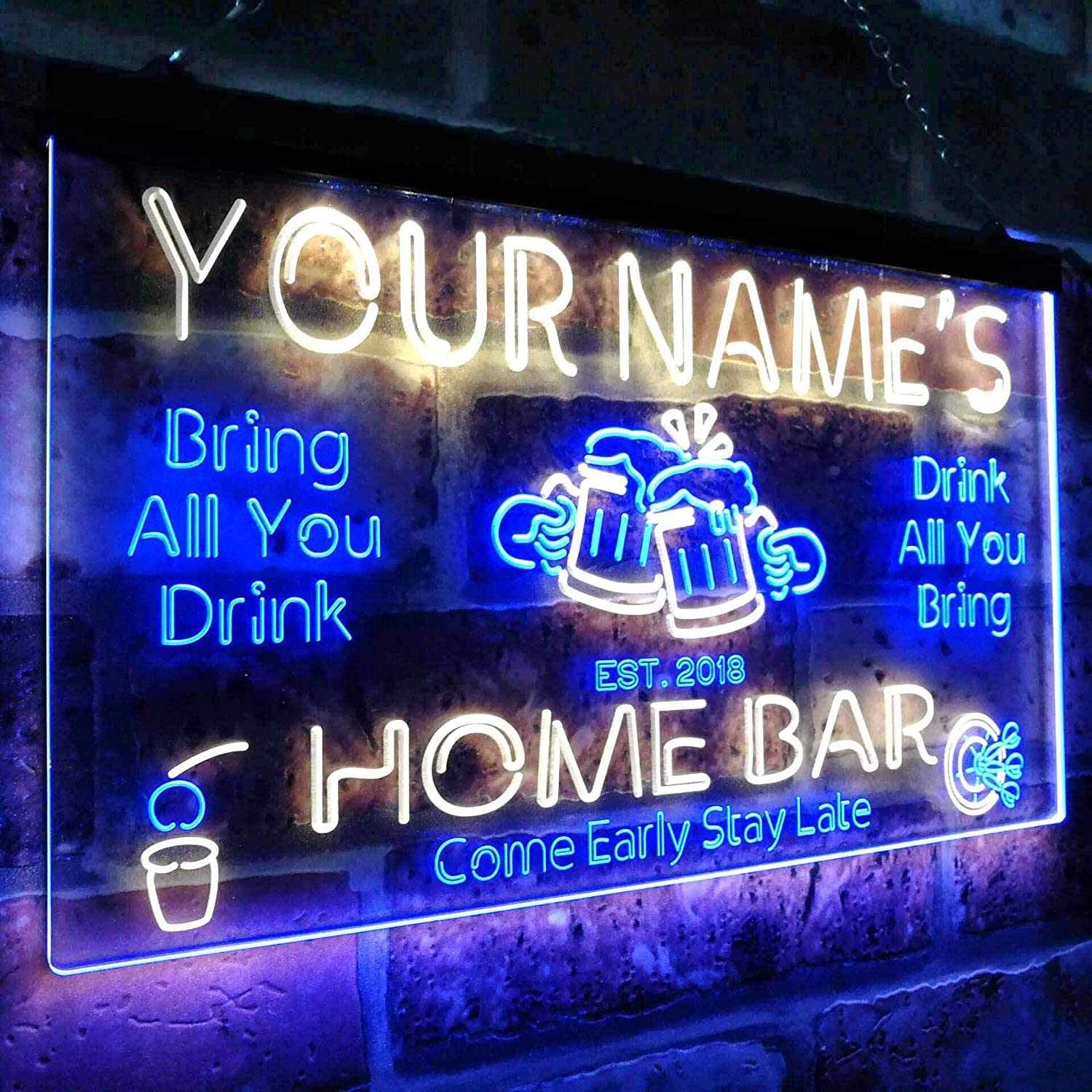 ADVPRO Personalized Your Name Custom Home Bar Beer Established Year Dual Color LED Neon Sign Red /& Yellow 300mm x 210mm st6s32-p1-tm-ry