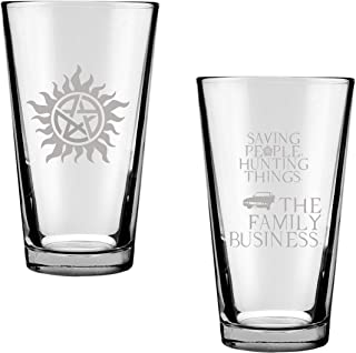 Brindle Southern Farms Supernatural Fan Gift Set Anti-Possession and Hunting People Saving Things Engraved Drinking Glass Set of Two: SPN Fan Gift