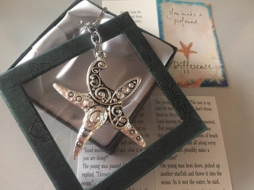 Smiling Wisdom - Starfish Key Ring Chain Gift Set - You Make a Profound Difference Greeting Card - Appreciation Encouragement for Friend, Teacher, Caregiver, Coach, Mentor, Mother - Thank You, Thanks