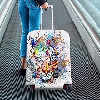 Animal theme Suitcase Protectors Dust Proof Luggage Covers Fit 18-28 Inch Luggage watercolor abstract tiger
