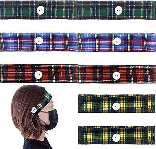 Alpurple 8 PCS Button Headbands-Vintage Women Yoga Sports Headbands with Ear Loop Holder Buttons,Turban Hair Band for Nurs...