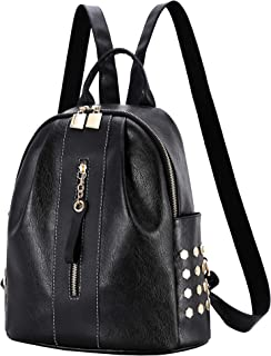 Women Backpack Purse Waterproof Leather Bookbag Convertible Ladies Travel Rucksack Rivets Studded Zipper daypack