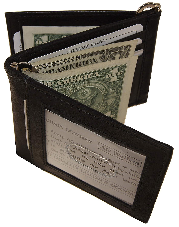 AGウォレットメンズ牛革Zダブルマネークリップ財布と外IDブラック