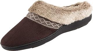 isotoner Women's Microsuede Memory Foam Basil Hoodback Slipper with Faux Fur, Dark Chocolate, 7.5-8
