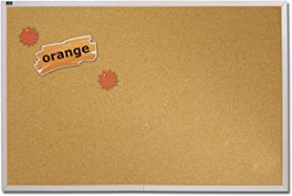 Quartet 4' x 12' Natural Cork Bulletin Board, Aluminum Frame (ECKA412)