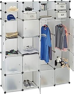 Relaxdays Étagère cubes rangement penderie armoire 20 compartiments plastique modulable 180x146 cm, transparent