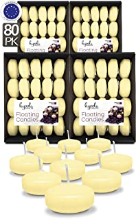Hyoola Premium Ivory Floating Candles 2 Inch - 4 Hour - 80 Pack - European Made
