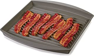 Prep Solutions by Progressive Microwave Large Bacon Grill - Gray, , 7-9 Strips of Bacon, Cook Frozen Snacks, Frozen Pizza,...