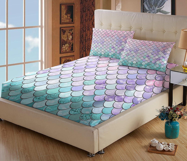 WINLIFE Mermaid Scales Bed Sheets Set Pink Aqua 国内即発送 世界の人気ブランド for Color Girls