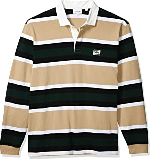 Lacoste Mens Long Sleeve Heavy Jersey Bold Stripe Rugby Polo Shirt