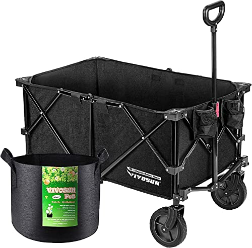 new arrival VIVOSUN lowest Heavy Duty Collapsible Folding Wagon Utility Outdoor Camping Garden online sale Cart with Universal Wheels & Adjustable Handle, Black with 5-Pack 5 Gallon Grow Bags Heavy Duty online