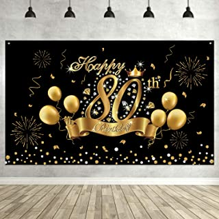 80th Birthday Black Gold Party Decoration, Extra Large Fabric Black Gold Sign Poster for 80th Anniversary Photo Booth Backdrop Background Banner, 80th Birthday Party Supplies