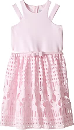 Scuba & Lace Sleeveless Cut Away w/ Full Skirt (Big Kids)