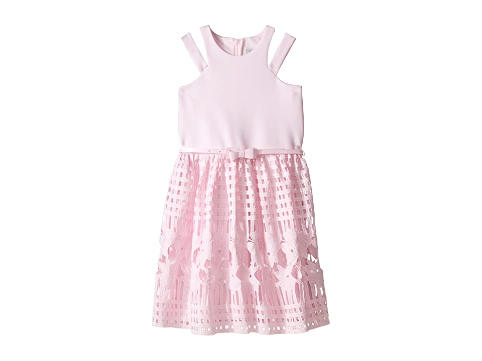 Us Angels Scuba Lace Sleeveless Cut Away w/ Full Skirt (Big Kids) (Pink) Girl