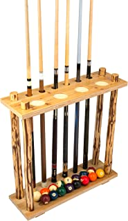 Rush Creek Creations Rustic Log 6 Billiard Cue Storage Rack - No Tool Assembly - Handcrafted Solid Pine