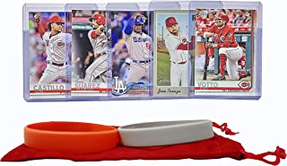 Cincinnati Reds Baseball Cards: Joey Votto, Jose Peraza, Yasiel Puig, Eugenio Suarez, Luis Castillo ASSORTED Trading Card and Wristbands Bundle