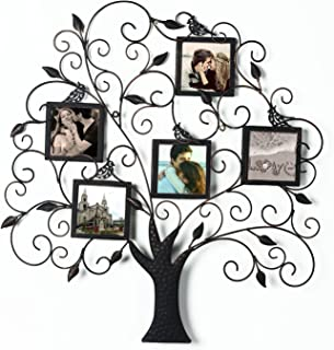 Adeco Brown Black Decorative Tree Style Collage Iron Metal Wall Family Tree Scroll Haning Picture Photo Frame, 5 Opening, 4x4 Each