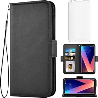 Asuwish Compatible with LG V35 ThinQ V30 Plus Wallet Case with Tempered Glass Screen Protector Leather Flip Cover Card Hol...
