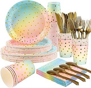 Kederwa 168 unidades de platos de colores pastel arco iris tazas y servilletas, tenedores dorados cuchillos y cucharas par...