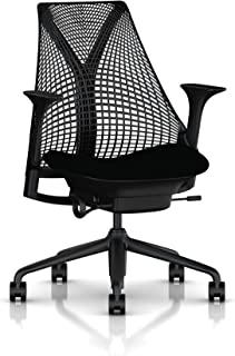 Herman Miller Sayl Ergonomic Office Chair with Tilt Limiter and Carpet Casters | Stationary Seat Depth and Adjustable Arms | Black Frame with Licorice Crepe Seat